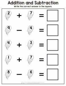 Worksheet for Preschool or Summer Addition and Subtraction Worksheets Itsy Bitsy Fun