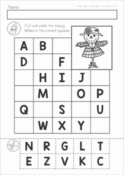 Letter Worksheets Preschool Cutting and Missing Alphabet Letters Cut and Paste Autumn Fall