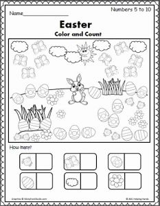Spring Counting Worksheet for Preschool or Easter Spring Counting 5 to 10