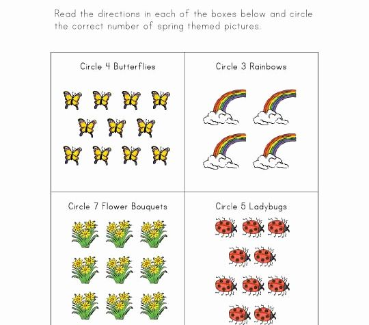 Spring Counting Worksheet for Preschool or Spring Counting Worksheet