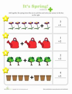 Spring Counting Worksheet for Preschool or Spring is In the Air