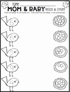 Spring Counting Worksheet for Preschool or Spring Math and Literacy Printables and Worksheets for Pre