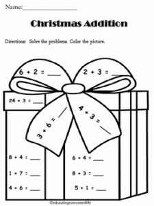 Christmas Addition Worksheet Printable then Christmas Addition Math Coloring Activtiy by Educating