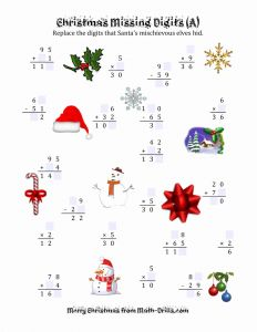 Christmas Math Worksheet Printable Of Christmas Missing Digits A