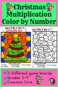 Christmas Multiplication 2 and Christmas Multiplication Color by Number 2 S to 12 S