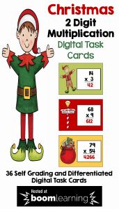 Christmas Multiplication 2 Of Christmas Boom Cards for 2 Digit Multiplication