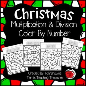Christmas Multiplication then Christmas Color by Number Multiplication and Division by