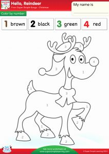 Christmas Reindeer Coloring Worksheets Of Hello Reindeer Worksheet – Color by Number