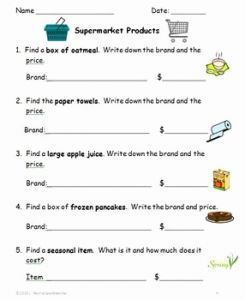 Casey Life Skills Worksheets Of Supermarket Munity Outing Printable Activities for Secondary Life Skills