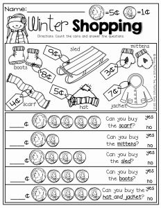 Money Management Worksheets for Students Of Winter Math and Literacy Packet Kindergarten