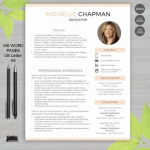 Resume Template Teacher Free and Teacher Resume Template with for Ms Word